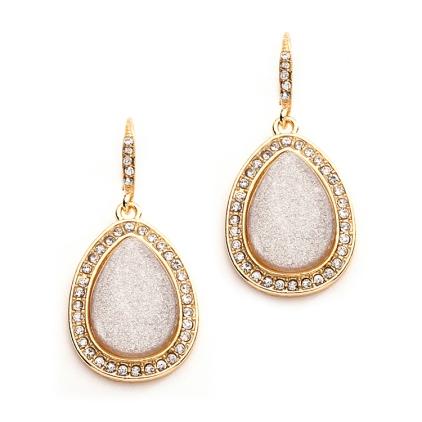 Beige Glitter Drop Earrings in Gold