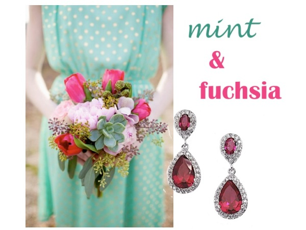 Matching Jewelry - Mint and Fuchsia