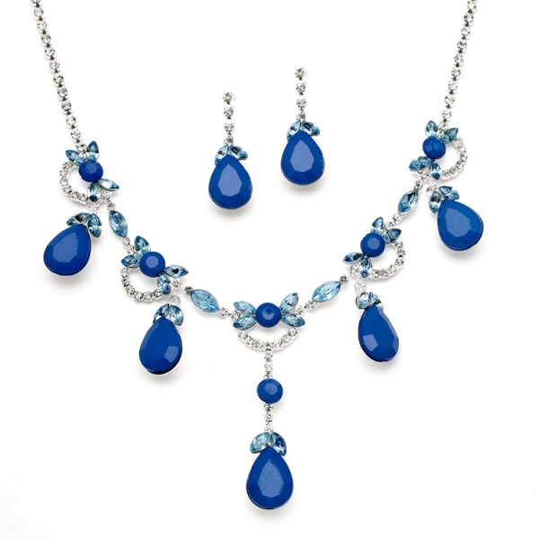 Dark Blue Drop Necklace Set