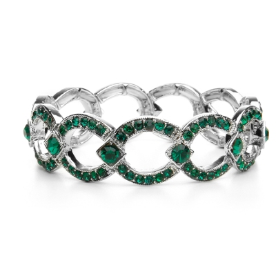 Emerald Green Crystal Art Deco Bracelet