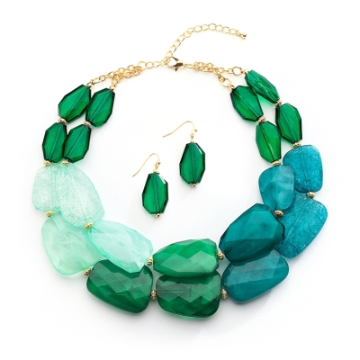 Green Tones Statement Necklace Set