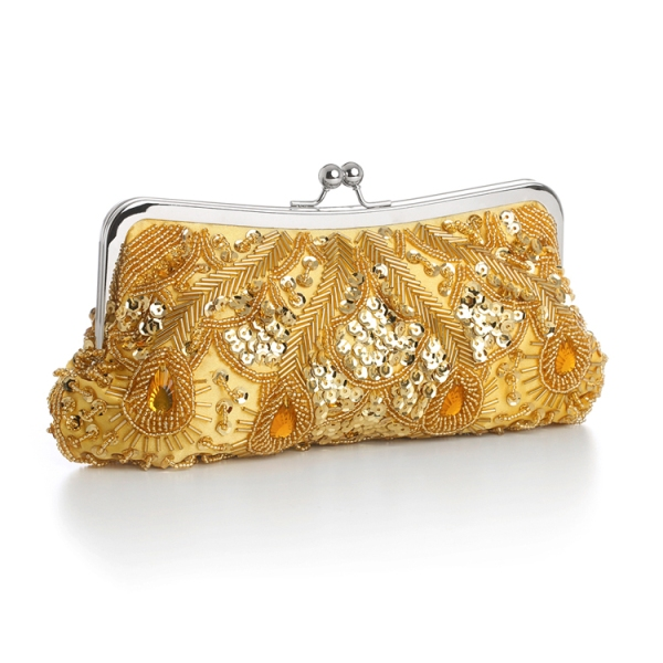 Yellow Beaded Evening Bag