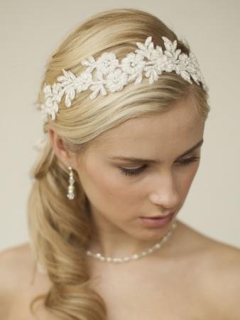 Boho lace wedding headband