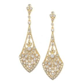 Art Deco Drop Earrings in Gold