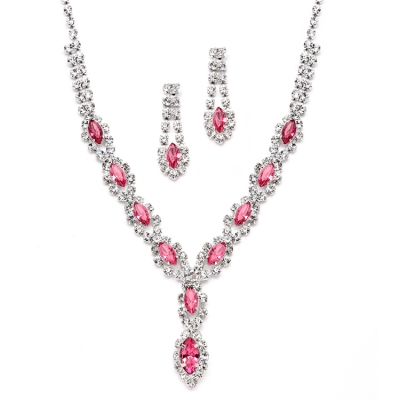 Classic Pink Rhinestone Necklace and Earring Set