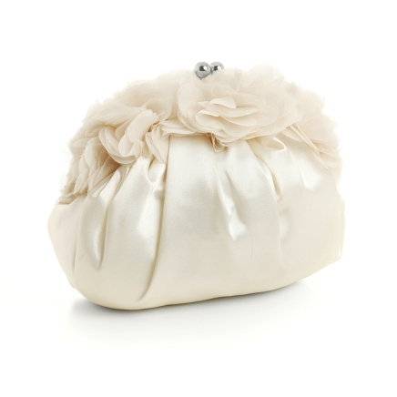 Ivory Satin Evening Bag with Chiffon Flutters