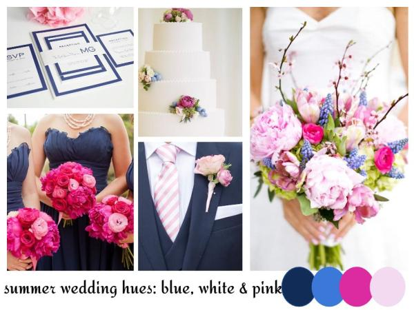 Summer Wedding Colors- Blue, White & Pink