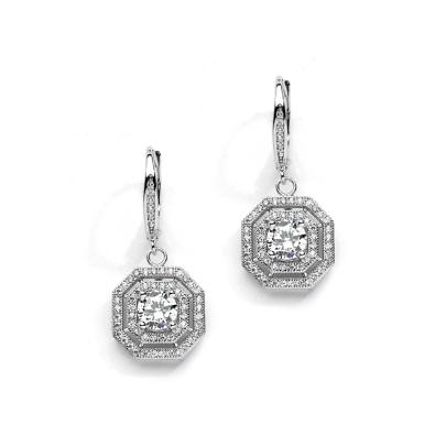 Art Deco CZ Drop Earrings