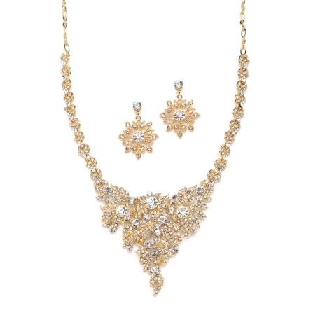 Gold and Crystal Statement Necklace Set