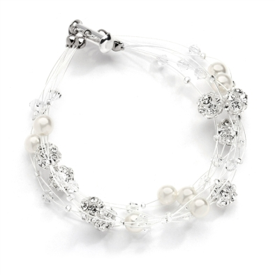 Pearl and Crystal Fireball Illusion Bracelet