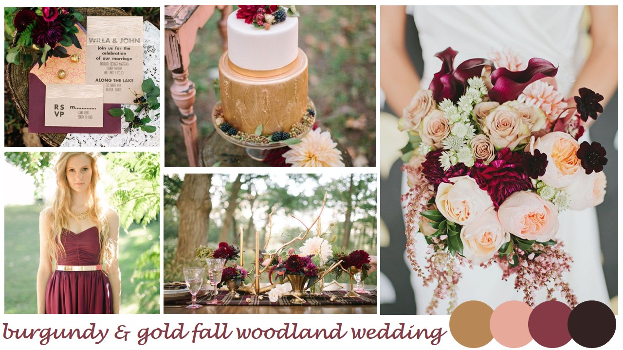 Pin fall inspiration 10 incredible cake ideas family for Burgundy and gold wedding dress