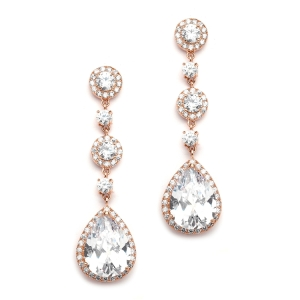 Pear CZ Bridal Drop Earring in Rose Gold
