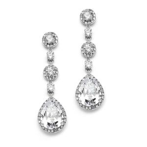 Pear CZ Bridal Drop Earring in Silver